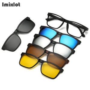Imixlot 5pc / set Gafas de sol con clip magnético Gafas para mujeres con clip magnético en gafas de sol polarizadas para gafas masculinas de uso múltiple