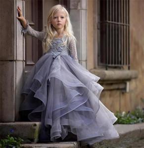2019 lila lange Ärmel Blumenmädchen Kleid mit 3D Blumenapplikationen Spitze Ballkleider Für Prinzessin Geburtstag Party Kleid Vestidos Nach Maß