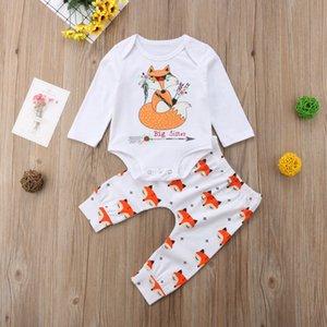 Aile Eşleştirme Kıyafetler Sisters Giyim Fox bodysuit + pantolonları 2pieces Giyim Set Print