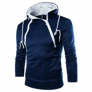 Erkek Hoodies Tişörtü Erkekler 2021 Göğüs Yan Çift Fermuar Eşofman Kazak Kış Yaka Kap Uzun Kollu Kazak Hoody Spor