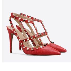 Wed2019 Обувь Летняя Острая Раскрывается Заклепка Одиночная Высокая С Сандалиями Обувь