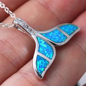 Qualitäts-Kristall Blue Opal Mermaid Wal Fisch-Schwanz-Anhänger-Halskette Charm Trendy Schmuck-Geschenk für Frauen