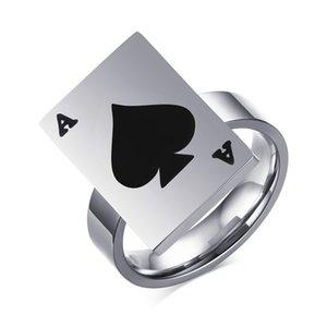 Anéis de Poker para As Mulheres Homens Jóias de Aço Inoxidável Do Punk Sorte Anel com Preto Ás de Espadas Design de Cartão de Poker Adicionar Caixa Livre