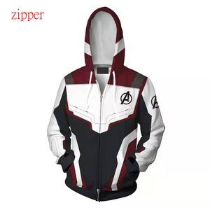 The Avengers 4 Endgame 3D Quantum Realm Iron Man Hoodie мужчины Капитан Америка костюм мужчины / женщины толстовка куртка супергерой молния