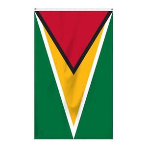 Guyana Flag 3x5ft 150x90cm stampa bandiera nazionale del poliestere Club Squadra sportiva coperta all'aperto con 2 Passacavi ottone, trasporto libero