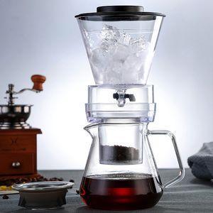 Eistropfenfänger-Kaffeemaschine für Barista Glass Percolator Kaffemaschine Große Filter Cup kaltes Gebräu Kaffee Wasser Tee Moka Pot 500ml