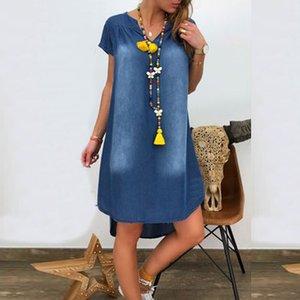 Женское летнее Джинсовое платье Ladies Casual V образным вырезом свободные платья с коротким рукавом Swing Party Beach Dress Vestidos Verano 2020 Mujer T200623