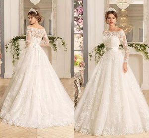 Free Shipping Custom New Long Sleeves Lace Appliques Wedding Dresses with Beads Sash Sweep Train Tulle Wed Bridal Gowns