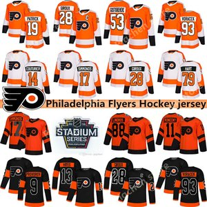 Flyers de Philadelphie au hockey 28 Claude Giroux 79 Carter Hart 13 Kevin Hayes 19 Nolan Patrick 88 Eric Lindros 00 Gritty maillot de hockey
