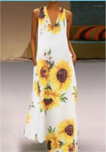 Elbise Artı boyutu Kadın Giyim Yaz Kadın Tasarımcı Günlük Elbiseler Ayçiçeği Baskılı Derin V Yaka Kolsuz Bayan
