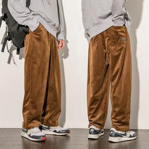 Mens Corduroy desserrées droite Pantalon jeunesse Plus Size Fashion Casual Pantalons Solid Color Hommes Pantalons Designer