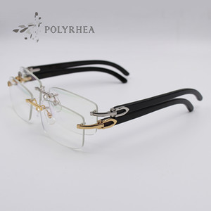 Black Buffalo Horn Glasses Gold Rimless Optical Sunglasses Men Women Brand Designer Glasses Carving Eyewear Frames With Box And Cases