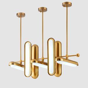 Postmodern Golden Art Déco En fer doré Lustres de verre Pendentif Lampes d'éclairage Suspension Suspension Luminaire Lampe pour salle à manger Myy