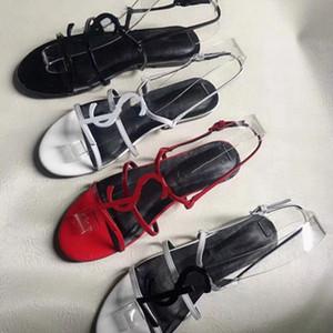 2019 En İyi kalite Tasarımcı ayakkabı stil Patent Deri Yaz Düz Kadınlar Benzersiz Harfler Sandalet Elbise Düğün Ayakkabı Seksi ayakkabı Ab: 35-42 01