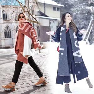 Nouvelle écharpe pour l'automne et l'hiver en Amérique en 2019, le commerce extérieur Lettre Pure Color Logo écharpe, cachemire comme deux écharpe Châle V191205