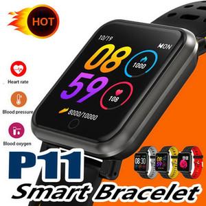 P11 1.3inch Smart Band Bluetooth Smart Watch IP68 Étanche Fréquence Cardiaque Pression Artérielle Podomètre Fitness Tracker Hommes Bracelet