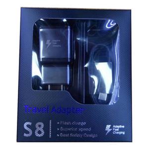 Wall Charger 5V 2A US / EU UK-Stecker 1.2M Orginal Typ C Kabel mit Kleinpaket 2 in1 Ladegerät Kits S8 schnell für Samsung Galaxy S8