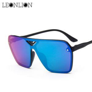 LeonLion 2019 Reflective Siamese Sunglasses Women Mirror Man Women Sun Glasses Classic Vintage UV400 Outdoor