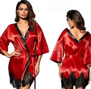 Pizzo della molla di autunno di sonno Robes Solid Sera Notte Robe abbigliamento Vestioes Womens Abito firmato donne dormono Pigiama