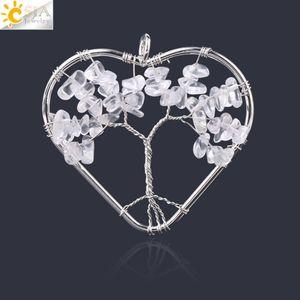 CSJA Love Heart Tree of Life Pendants Natural Stones Tiger Eye White Crystal Wire Wrap Wisdom Trees Women Men Reiki Pendant F758