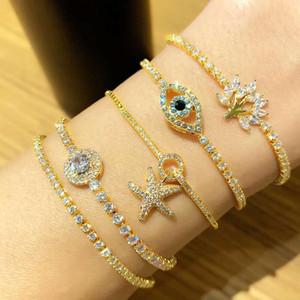 dégelée à bracelet chaîne de l'oeil du diable pour les femmes diamant concepteur de luxe bling coloré bracelets fleur étoile de mer bijoux zircon chaînes d'or