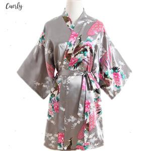 Xxxl Sexy Bride Bell Bridesmaid Wedding Dressing Robe Gray Lady Kimono Bath Gown Large Size Casual Sleepwear Floral Nightgown Sg73