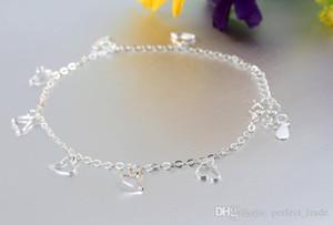 Vente en gros Bracelets strass cheville luxe 925 Sliver cheville Mode femmes Pied cheville Bracelets Bijoux Designer Les meilleurs cadeaux