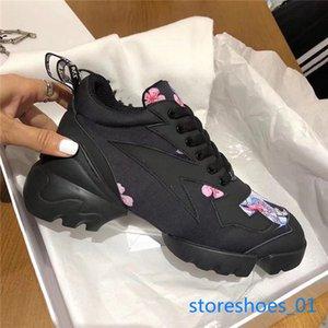 2019 xshfbcl fashion luxury designer women shoes Women Neoprene Grosgrain D-Connect sneakers Lady Wrap-around Rubber Sole Casual Shoes