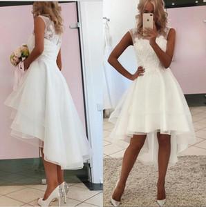 2020 vestido de casamento New Simples Short Beach Tripulação Sheer Neck Lace Organza Layered Alta Baixa vestido de noiva barato Noiva Vestidos