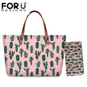 FORUDESIGNS Cactus Mulheres Totes Tropical plantas verdes Projeto Bolsas de Ombro Grande Capacidade Feminino Top-Handle 2Pcs / Set