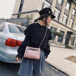 2020 new women's shoulder bag fashion transparent backpack letter diamond lattice female bag oblique thin chain small square