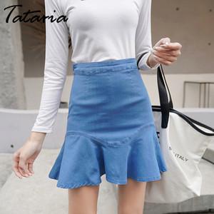 Tataria Mulheres Cintura Alta Plissado Saia Jeans Das Mulheres Do Vintage A-line Ir Irregular Pacote Hem Saias Femininas Elastic Mini Saia