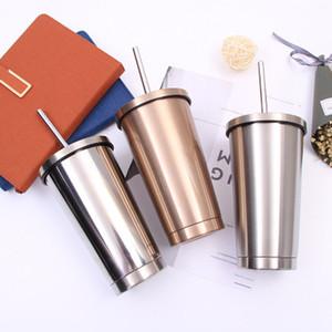 Copo de Aço Inoxidável 17oz Sippy Copo De Palha com Tampa e Palha Dupla Parede Vacuum Dupleto Caneca de Café de Água entrega Rapidamente