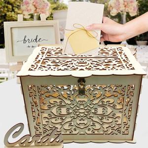OOTDTY 3 estilos para elegir las tarjetas de madera DIY sesión caja de la caja del dinero rústico recepción Baby Shower boda favores de partido Decoración