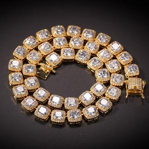 الهيب هوب بلينغ سلاسل مجوهرات رجل مثلج خارج الماس تنس سلسلة قلادة قلادة سوار جودة عالية ساحة الزركون القلائد 7 بوصة -24 بوصة