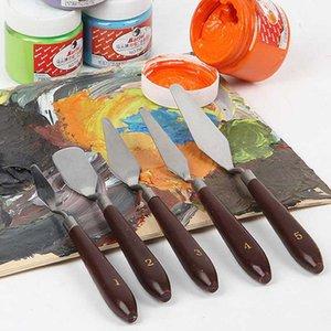 Bıçak Blade Boyama Sanatçı Yağlıboya Resim Araçları için 5Pcs Karışık Paslanmaz Çelik Palet Sıyırıcı Seti Spatula Bıçaklar