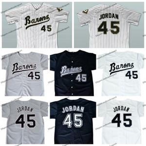 저렴한 Mens MICHAEL 조단 # 45 BIRMINGHAM BARONS 야구 유니폼 블랙 그레이 화이트 스티치 MICHAEL Birmingham Barons 야구 셔츠 M-XXXL