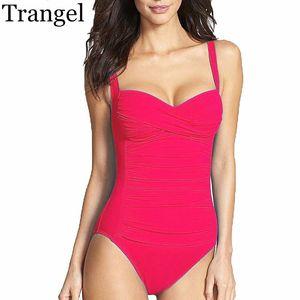 Trangel Maillot une pièce Plus Size Maillots de bain Femmes 2020 Summer Beachwear Pousser survêtements bain Retro Maillot de bain monokini