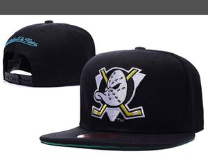 Neue Männer Anaheim Mighty Ducks-Hut-Team-Logo-Stickerei-Sport Einstellbare Eishockey Caps Hip Hop Flachschirmmützen Schwarz Farbe