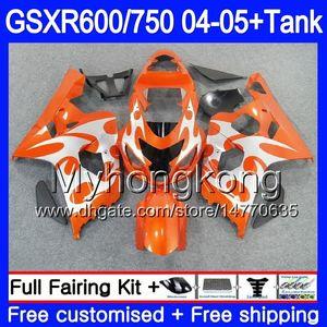 Bodys + Tank Per SUZUKI GSXR 750 GSXR 600 GSXR-750 GSX-R600 2004 2005 295HM50 GSXR750 K4 GSXR600 04 05 GSXR750 Nuovo telaio arancione 04 05 Carenatura