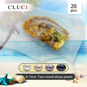 CLUCI 20pcs 6-7mm Round Akoya in Natural Wish Twins Pearl Vacuum Packed Oysters with Pearls T200507