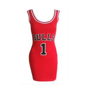 2019 Frauen Buchstabe E Bulls Print Sporting Sommerkleid Cut Jersey Über Knielangen Schwarz Weiß Rot Tunika Kleider Stil Vestidos SH190702