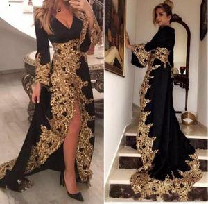 Kaftan Dubai Stil Müslüman Abiye Uzun Kollu Siyah Kadife Altın Aplikler Bayanlar Örgün Balo Abiye Abiye Gece Elbisesi