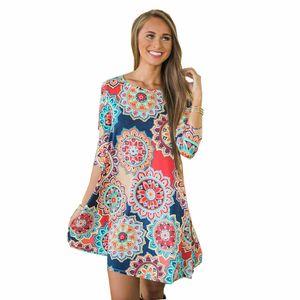 Pop2019 Seven Autumn Part Sleeve Nation Wind Printing Will Pendulum Pocket Dress