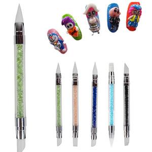 네일 도구 새로운 네일 중공 조각 양각 젤 펜 더블 헤드와 다이아몬드 울트라 소프트 실리콘 펜 절묘한 쉬운 사용