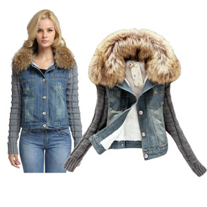 Fashion casual Denim Coat Winter Women Jeans Warm Coat Female Plush Fleece Short Denim Jacket Slim Elegant Fur Collar Outerwear Tops plus