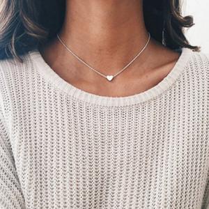 Girls Love Coeur Colliers Rose Or Argent Coeur pendentif en forme de chaîne Clavicule femmes Bijoux cadeau HHAA1129