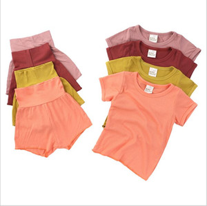 Kids Designer Clothes Girls Candy Color Pajamas Sets Boys Summer Casual Nightwear Cotton Short Sleeve Tops Shorts PP Pants Sleep Suits B7577