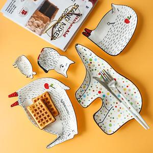 كارتون جميل لطيف السيراميك للطفولة الإفطار السلطانية صحن حلويات الفاكهة وجبة خفيفة لوحة الحيوان أدوات المائدة السلطانية أدوات المائدة الخزف