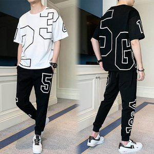 Men's Exercise & Fitness Clothing Fashion Mens Casual T-Shirt + Long Pants Two-piece Suit Male Active Thin Leisure Tracksuits Size M-4XL